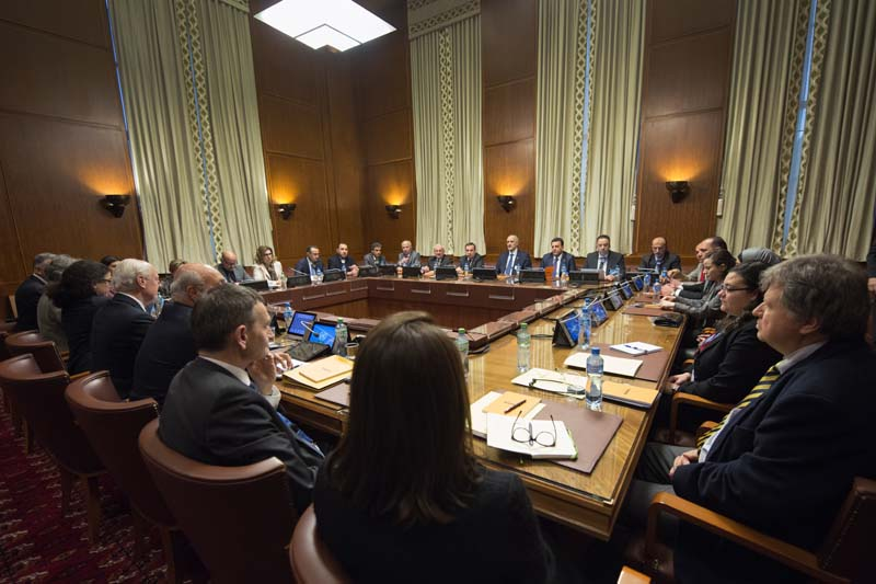 Overview of the Syria peace talks in Geneva, Switzerland, on Friday, January 29, 2016. Indirect peace talks aimed at resolving Syriau2019s five-year conflict began Friday at the UN headquarters in Geneva, without the participation of the main opposition group. Photo: Keystone via AP