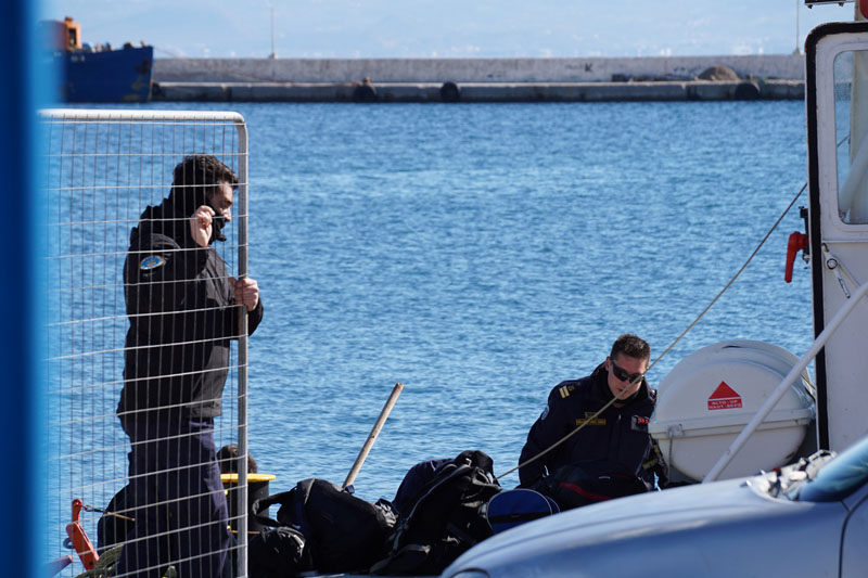 Greek Coast guard officers prepare for a rescue mission at the port of Kalymnos island on Friday, January 22, 2016. Photo: AP