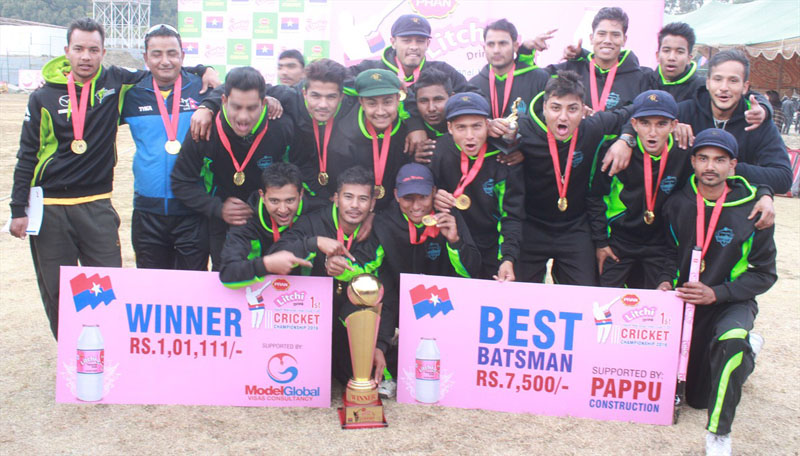 Himalayan Cricket Academy players and officials pose after winning the Pran Litchi Drinks National Inter-club Youth Cricket Championship at the TU Stadium in Kathmandu on Wednesday.  Photo: THT