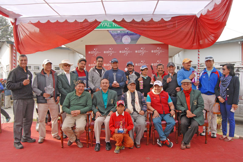 Winners and officials pose after the Himalayan Bank Cup at the Royal Nepal Golf Club in Kathmandu on Saturday. Photo: RNGC