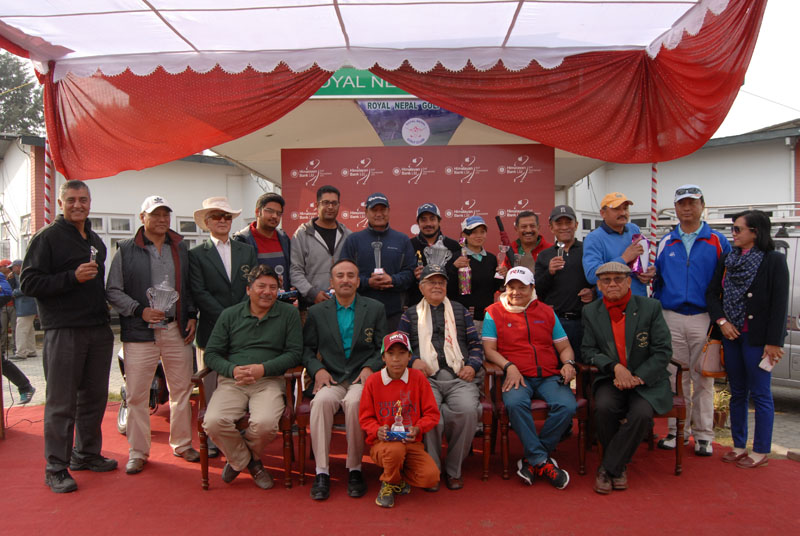 Winners and officials pose after the Himalayan Bank Cup at the Royal Nepal Golf Club in Kathmandu on Saturday. Photo Courtesy: RNGC