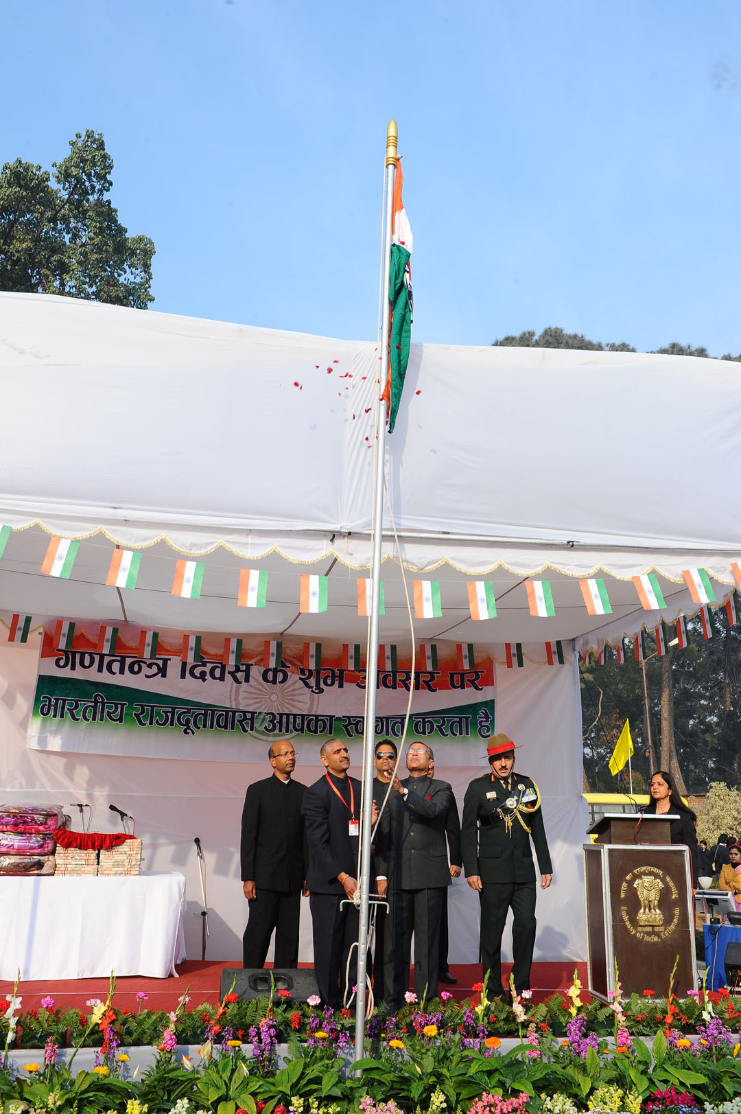 India's national flag being hoisted at the Indian at the Embassy premises.
