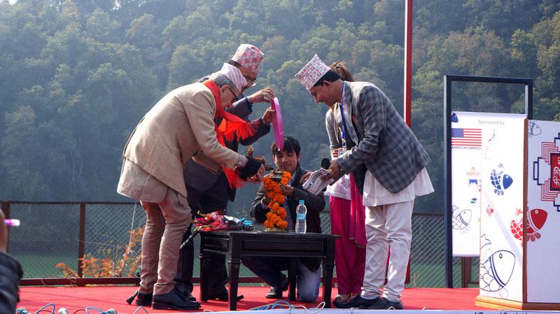 Britain-born Nepali citizen JP Cross (left) inaugurates the fifth Nepal Literature Festival, in Pokhara of Kaski, on Friday, January 29, 2016. Photo: Bharat Koirala