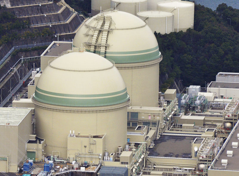 No. 3 nuclear reactor (bottom) at Takahama nuclear power station in Takahama town in Fukui prefecture, northwestern Japan, on January 12, 2016. Photo: Kyodo News via AP