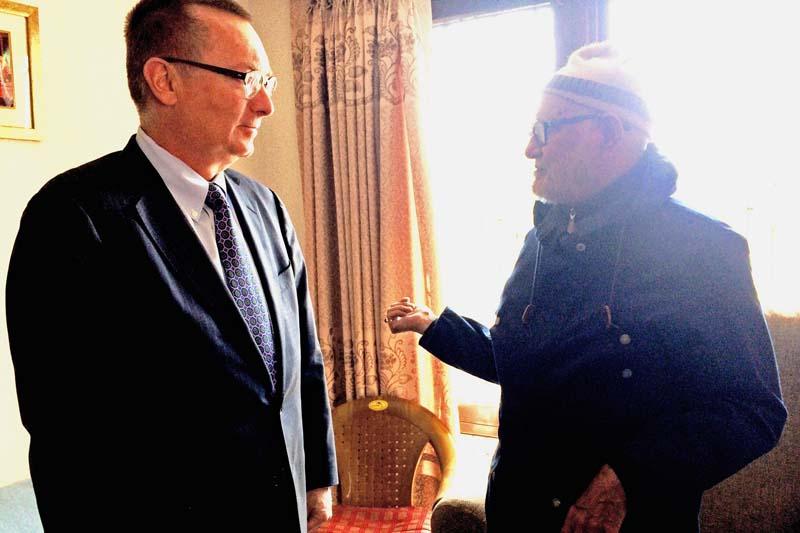 UN Under Secretary General Jeffrey D Feltman meets Nepali Congress President Sushil Koirala at the latter's residence in Maharajgunj, on Saturday, January 9, 2016. Courtesy: Koirala's Secretariat