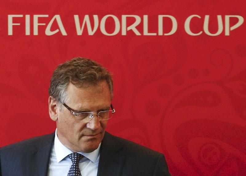 File - FIFA Secretary General Jerome Valcke attending a news conference in Samara, Russia, June 10, 2015. Photo: Reuters