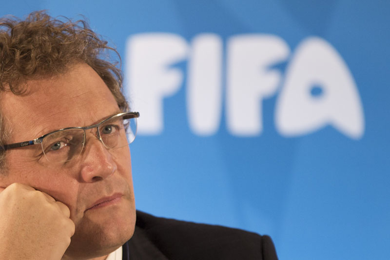 FILE - FIFA Secretary General Jerome Valcke listen to questions during a news conference to present the new world cup song at the Maracana stadium in Rio de Janeiro, Brazil on Thursday, January 23, 2014. Photo: AP