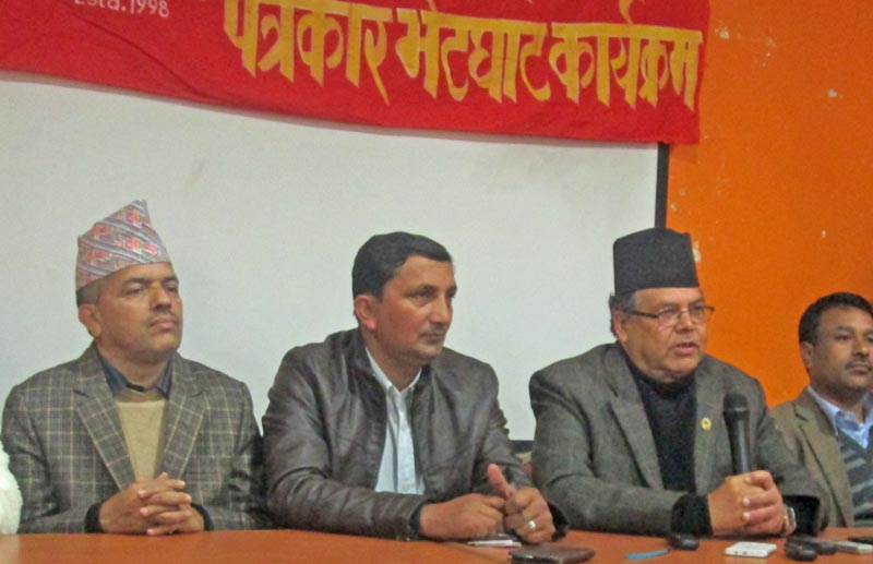 CPN-UML leader and former Prime Minister Jhala Nath Khanal at a press meet in Pokharal. Photo: THT Online