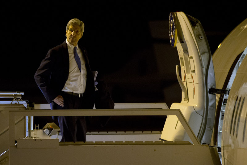 US Secretary of State John Kerry leaves Zurich, Switzerland en route to Saudi Arabia after attending the World Economic Forum, on Friday, January 22, 2016. Photo: AP