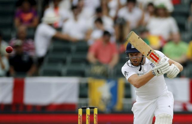 England's Jonny Bairstow plays a shot during the third cricket test match against South Africa in Johannesburg, South Africa, January 16, 2016.  REUTERS/Siphiwe Sibeko