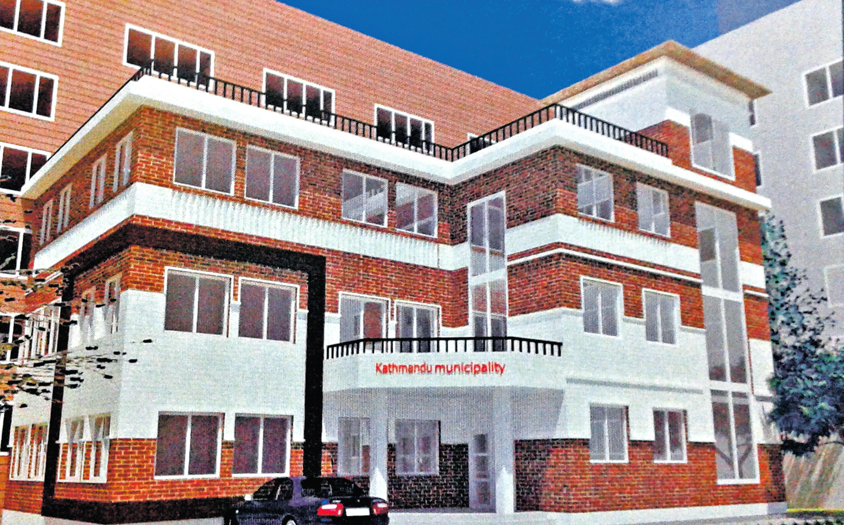 Design of the three-storey KMC prefabricated building to be built in the northeast corner of Bagh Durbar, in Kathmandu, on Tuesday. Photo: THT