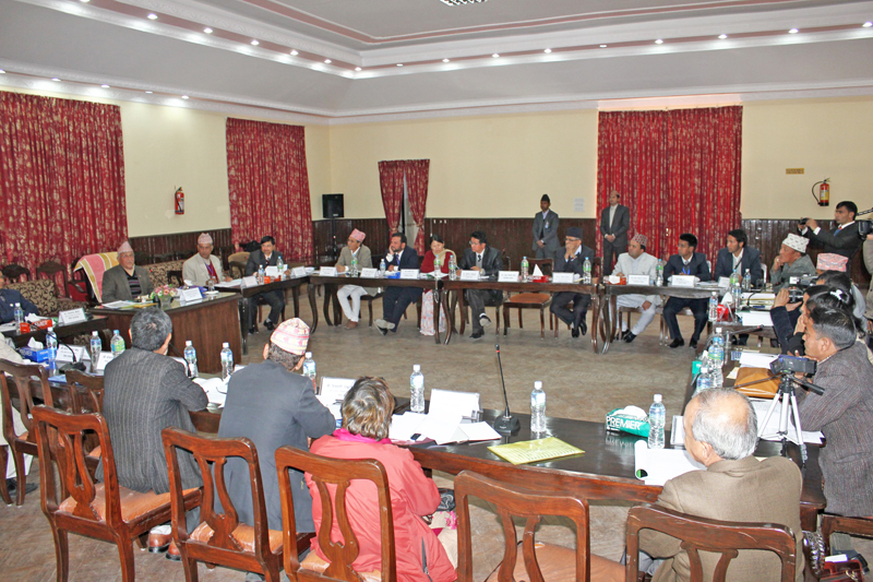 Prime Minister KP Sharma Oli talking to members of Karnali Institute of Health Sciences Jumla in its fourth meeting held in Baluwatar on Wednesday, January 6, 2016. Photo: PM's Secretariat