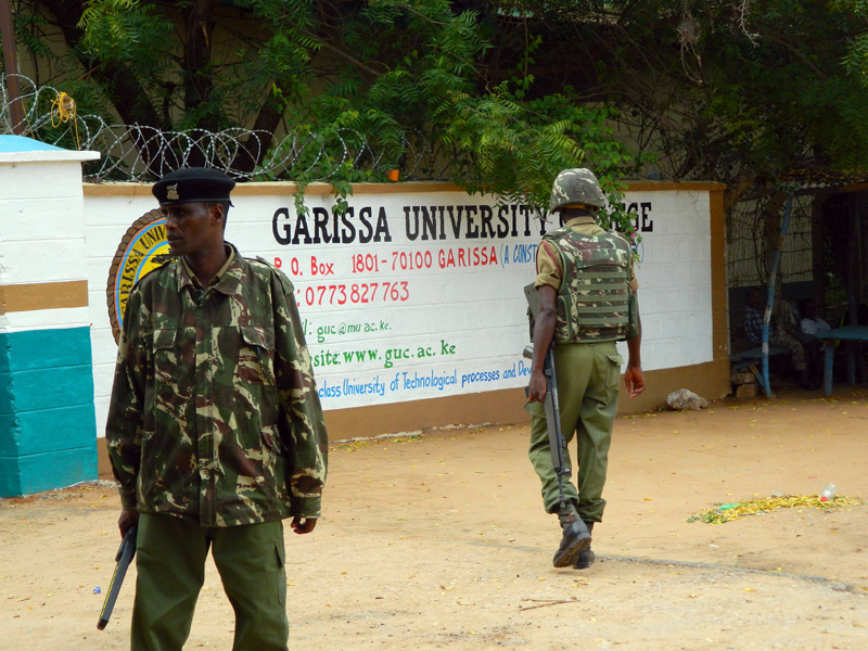 Armed security officers guard the entrance of Garissa university college, in Garissa, Kenya, Monday, January 4, 2016. Photo: AP