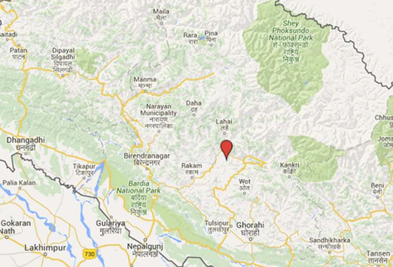 Kholagaun of Rukum district. Source: Google Maps