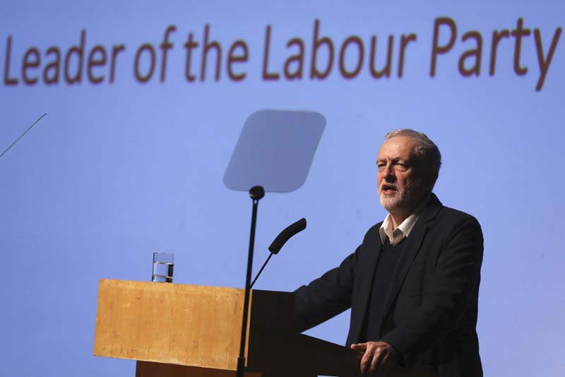 Britain's opposition Labour Party leader Jeremy Corbyn delivers the keynote speech at the Fabian Society new year conference in London, Britain on January 16, 2016. Photo: Reuters