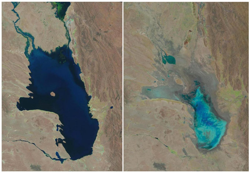 Photo combo of satellite images of Lake Poopo filled with water on October 11, 1986 (left) and almost dry on January 16, 2016 (right)  in Bolivia. Photo: USGS via AP