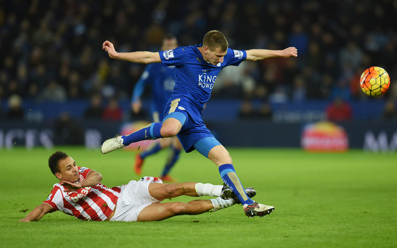 Leicester's Marc Albrighton in action with Stoke's Peter Odemwingie in action during Barclays Premier League match at King's Power Stadium on Saturday, January 23, 2016. Photo: Reuters