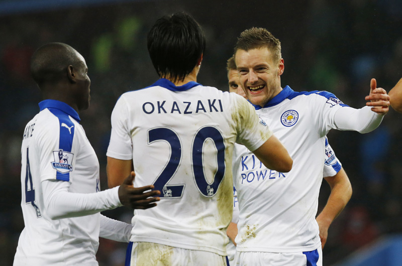 Shinji Okazaki celebrates with team mates after scoring the first goal for Leicester against Aston Villa during Barclays Premier League game at Villa Park on Saturday, January 16, 2016. Photo: Reuters