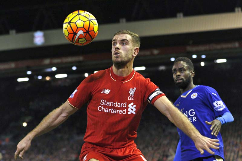 Liverpool's Jordan Henderson in action with Leicester City's Nathan Dyer during their match with Leicester City of the Barclays Premier League at Anfield on December 26, 2015. Photo: Action Images via Reuters