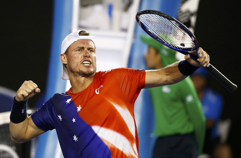 Australia's Lleyton Hewitt reacts during his first round match against compatriot James Duckworth at the Australian Open tennis tournament at Melbourne Park, Australia, January 19, 2016. Photo: Reuters