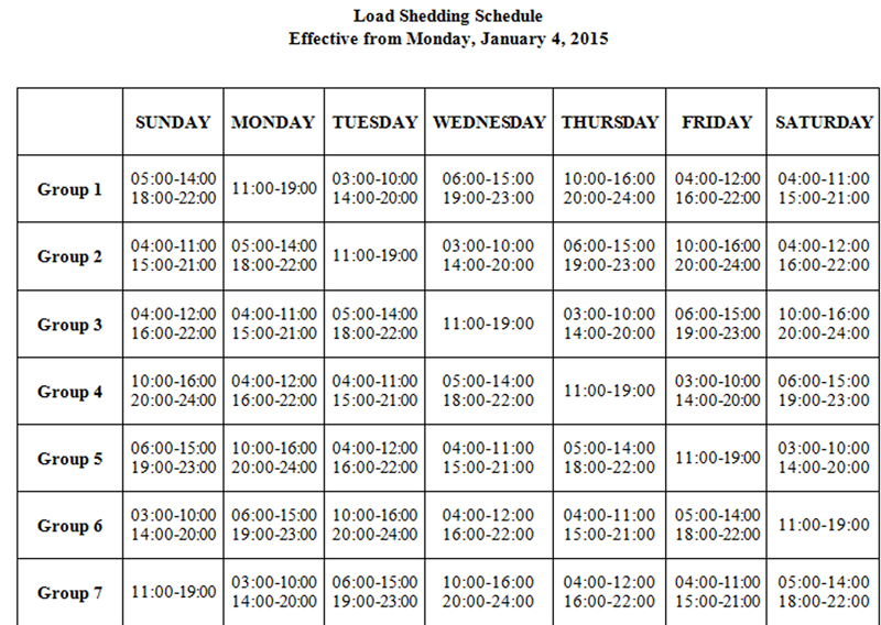 Load shedding schedule to be effective from Monday, January 4, 2016.