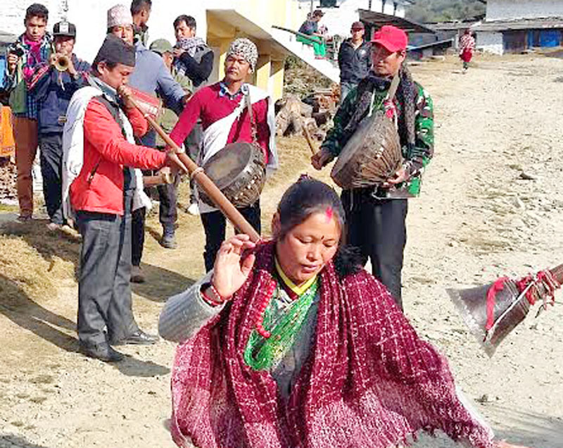 Locals perform traditional dances to welcome tourism entrepreneurs who were exploring a new trekking route. Photo: THT