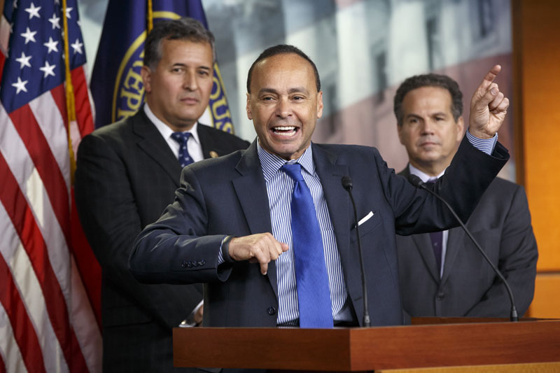 FILE - Rep. Luis Gutierrez, D-Ill., (centre) joined by Rep. Juan Vargas, D-Calif. (left) and Rep. David Cicilline, D-R.I., leads a news conference on Capitol Hill in Washington on January 13, 2015. Photo: AP