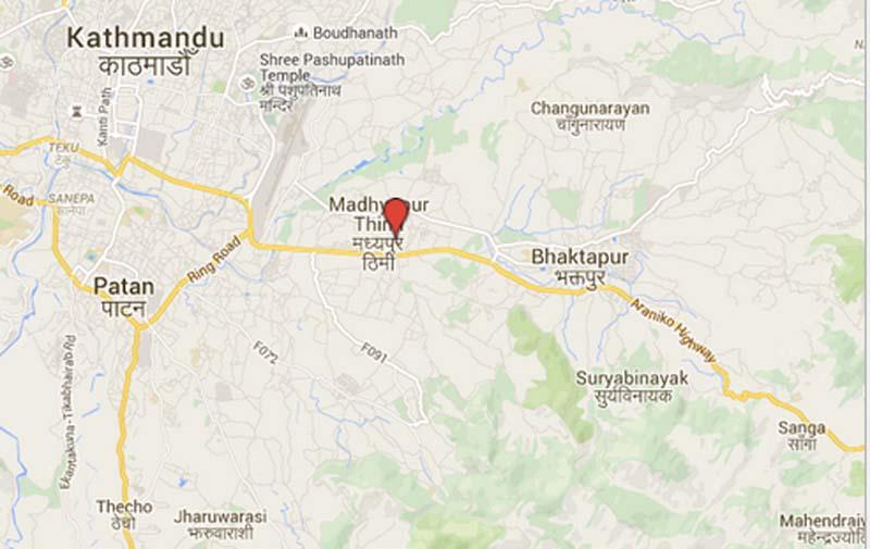 Madhyapur Thimi Municipality of Bhaktapur. Source: Google Maps
