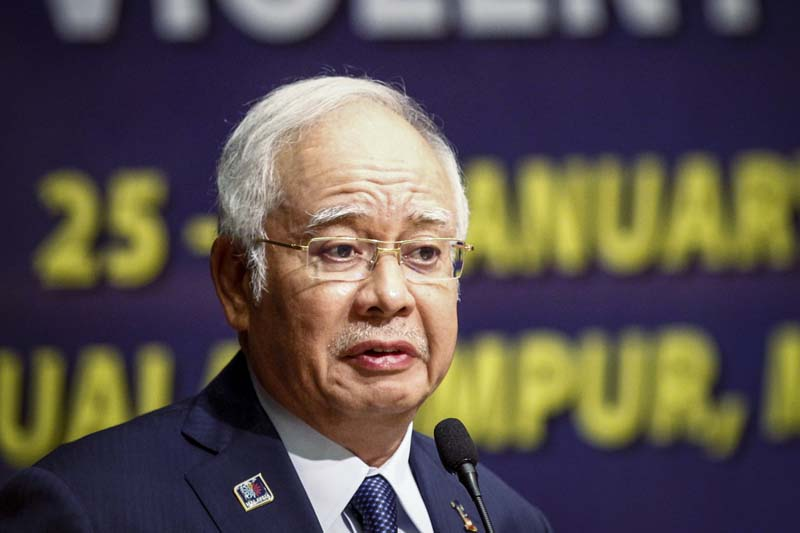 Malaysian Prime Minister Najib Razak delivers his opening speech at a conference in Kuala Lumpur, Malaysia, on Monday, January 25, 2016. Photo: AP