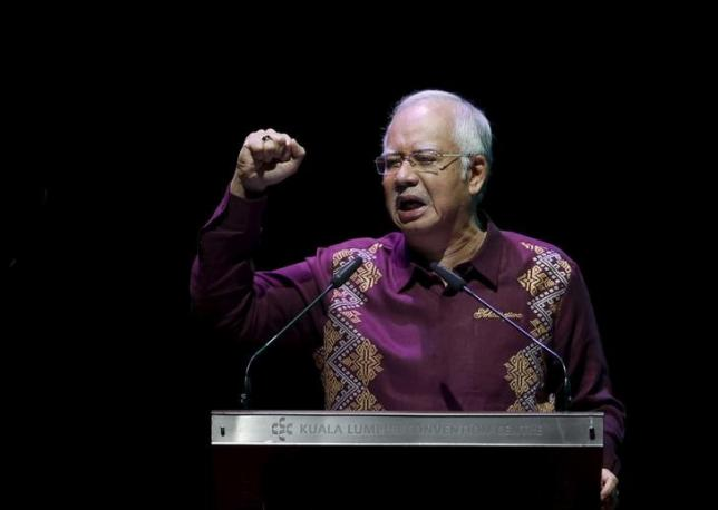 Malaysia's Prime Minister Najib Razak addresses the nation in a National Day message in the capital city of Kuala Lumpur August 30, 2015.  REUTERS/Edgar Su