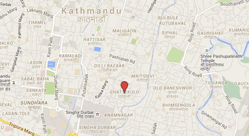 Man murdered by wife in Ghattekulo of Kathmandu. Source: Google Maps