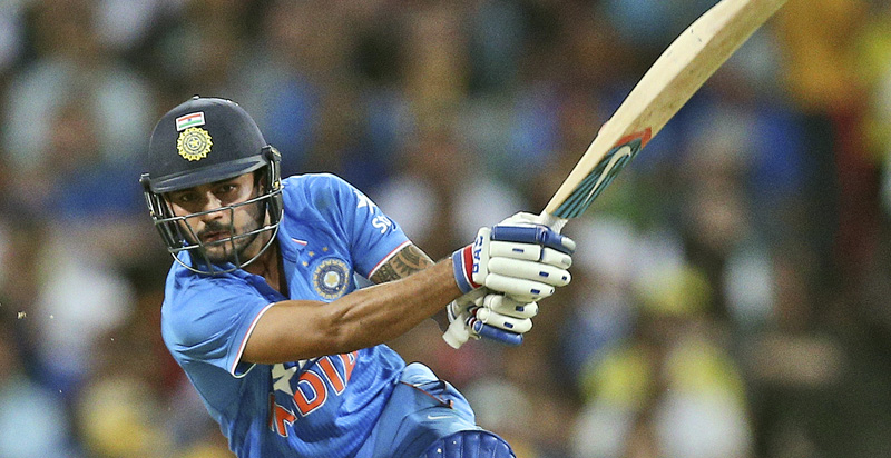 India's Manish Pandey Mann plays a shot against Australia during their fifth ODI match in Sydney. Photo: AFP