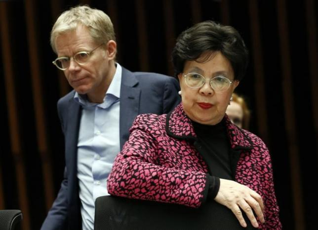 World Health Organization Director-General Margaret Chan (R) and Assistant Director-General for Emergencies at the WHO Bruce Aylward arrive for the WHO Executive Board information session for Member States on Zika virus in Geneva, Switzerland January 28, 2016. REUTERS/Denis Balibouse
