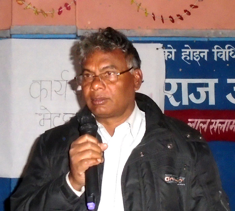 Central coordinator of NCP-Maoist, Matrika Prasad Yadav, addressing his cadres in Rajbiraj of Saptari district on Saturday, January 2, 2016. Photo: THT Online