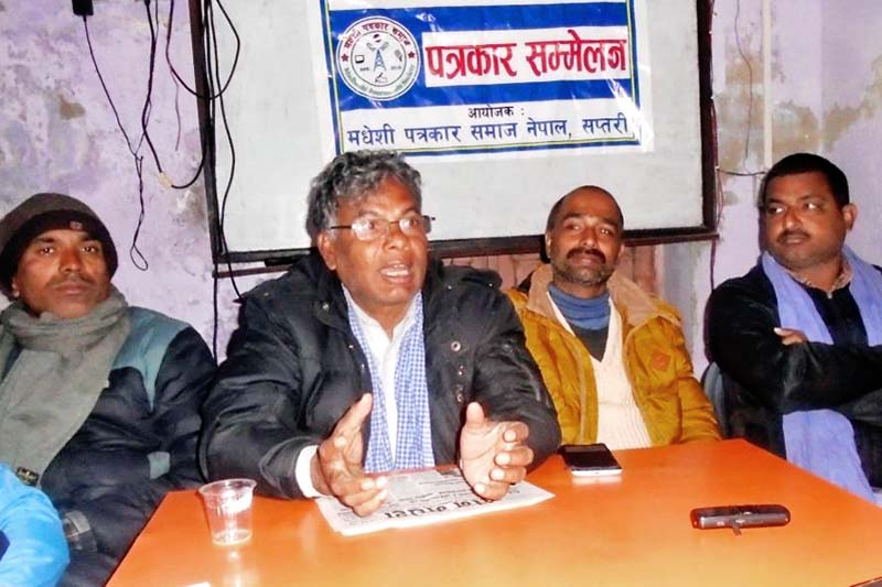 Matrika Yadav, the central coordinator of CPN (Maoist), speaking at a press conference organised by the Madhesi Journalists Society Saptari chapter on Sunday, January 3, 2016. Photo: THT Online