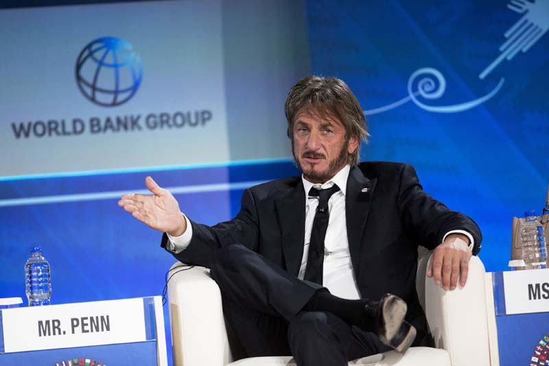 Sean Penn speaks during a forum with young entrepreneurs during the IMF and World Bank annual meeting in Lima, Peru on October 8, 2015. Photo: AP/ File