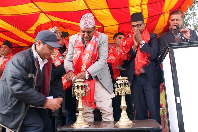 Minister for Culture, Tourism and Civil Aviation, Ananda Prasad Pokharel inaugurating the second town council of the Anantalingeshwar Municipality in Bhaktapur on Wednesday, January 13, 2016. Photo: RSS