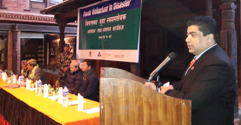 Minister for Peace and Reconstruction Ek Nath Dhakal addresses a function in Kathmandu, on Sunday, January 24, 2016. Photo: GAN