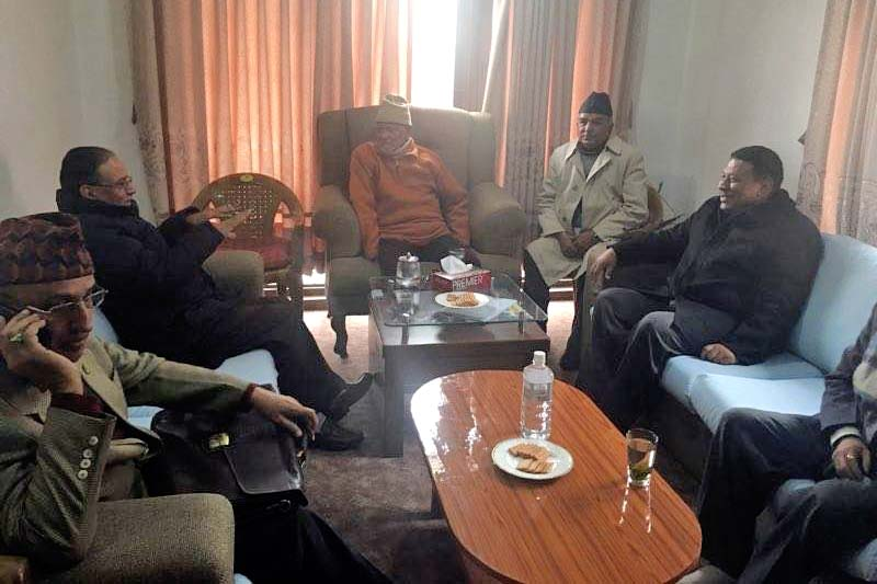 Top leaders of Nepali Congress and UCPN-Maoist holding A bilateral meeting prior at NC President Sushil Koirala's residence in Maharajganj, on Tuesday, January 19, 2016. Photo: twitter.com/cmprachanda