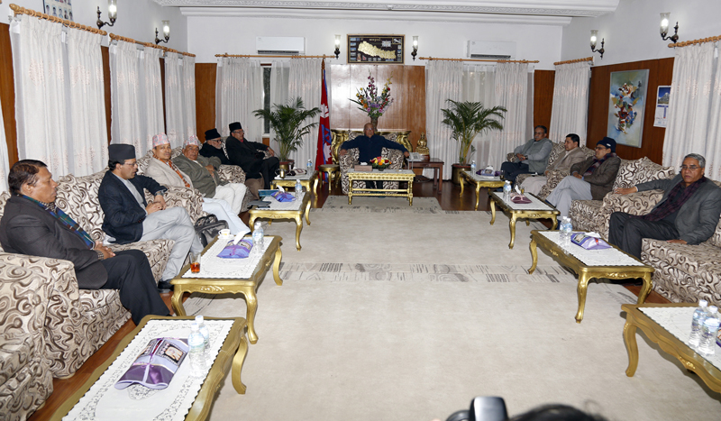 Top leaders of Nepali Congress, CPN-UML and UCPN-Maoist hold a meeting at the Prime Minister's residence, in Baluwatar of Kathmandu, on Sunday, January 3, 2016. Photo: RSS