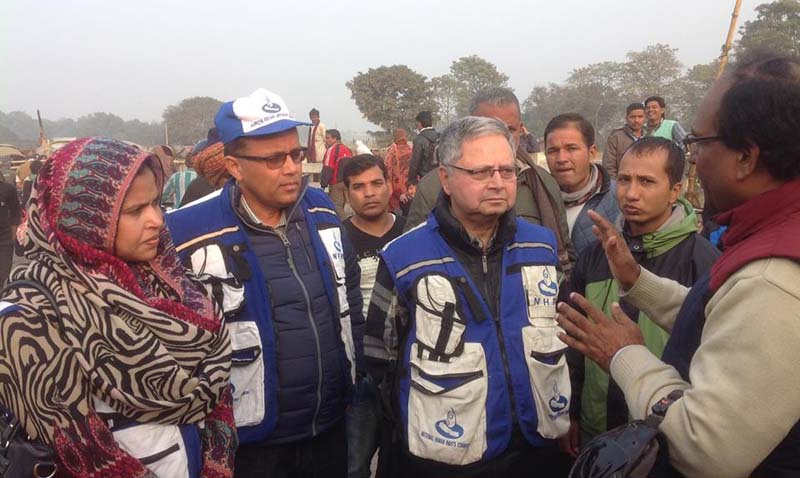 NHRC Chairman Anup Raj Sharma (third from left) interacts with a leader of a protesting party in Tarai region recently. Photo: NHRC
