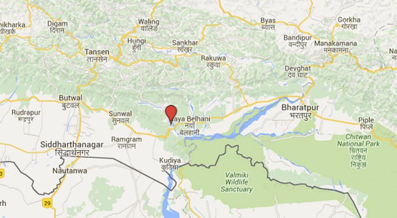 Map of Dhumkibas, Nawalparasi district. Sourc: Google Maps