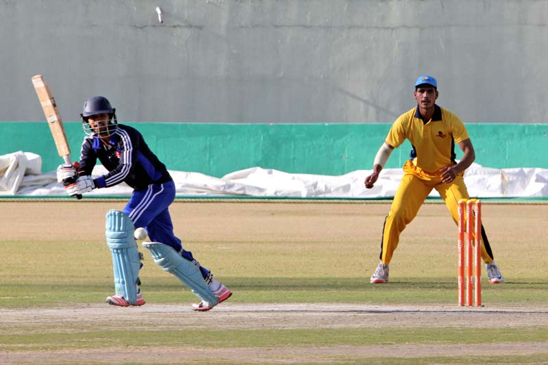 Nepal U-19 teamu2019s Yogendra Singh Karki plays a shot against Himachal Pradesh Cricket Association during their second practice match at the Dharamshala Cricket Stadium on Tuesday, January 5, 2016. The Nepali team is in India to prepare for the ICC U-19 Cricket World Cup to be held in Bangladesh from January 23 to February 14. Photo: THT