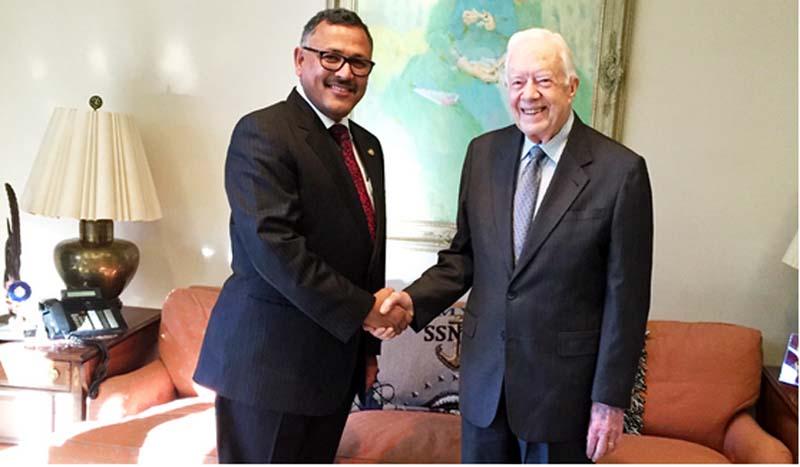 Nepali Ambassador to the United States Arjun Kumar Karki (left) meets former US President Jimmy Carter at The Carter Center in Atlanta, Georgia, on Thursday, January 14, 2016. Photo: Nepal Embassy in Washington DC