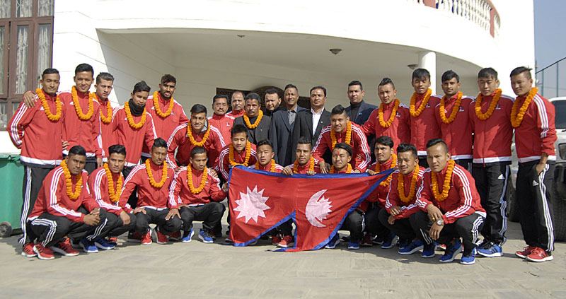 Nepal national football team players and officials after their farewell programme in Lalitpur on Thursday, January 7, 2016. Photo: Naresh ShresthaTHT