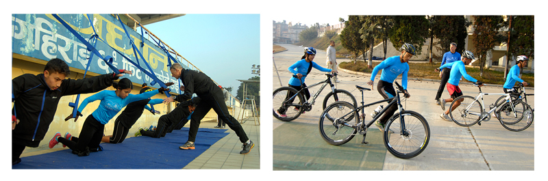 Coach Peter Jakobsen lends lessons to triathlon athletes during a training session ahead of 12th SA Games, at the International Sports Complex. Photos: Naresh Shrestha / THT