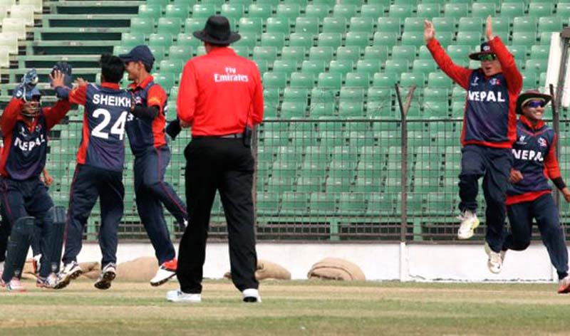 Nepal Under-19 cricket team celebrate their victory against Ireland in their group stage match of the ICC U-19 Cricket World Cup at the Khan Shaheb Osman Ali Stadium, Fatullah in Bangladesh on Saturday, January 30, 2016. Courtesy: ICC