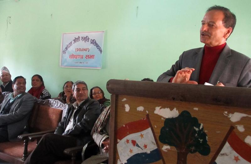 Nepali Congress General Secretary Krishna Prasad Sitaula speaks at a function in Bhimduttanagar of Kanchanpur district, on Saturday, January 2, 2016. Photo: RSS
