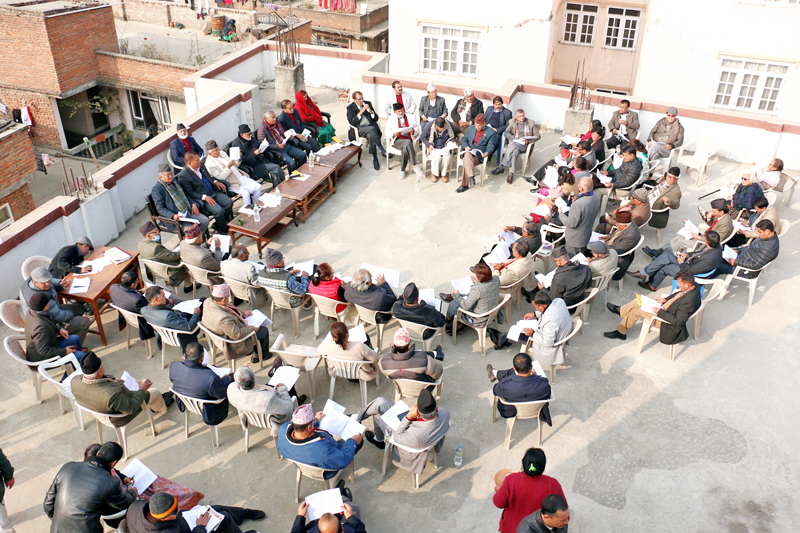 Leaders of Nepali Congress taking part in a Central Working Committee meeting at the party office in Sanepa on Sunday, January 10, 2016. Photo: RSS