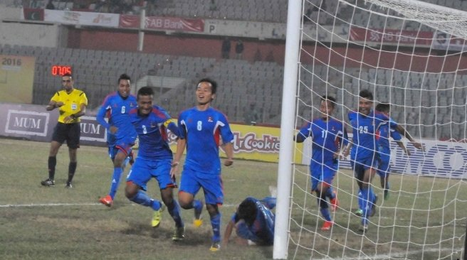 Nepali players celebrate after scoring against Maldives in Bangabandhu Gold Cup semifinals in Dhaka. Photo: Bangladesh Football Federationn
